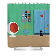 Early Painting Mid Century Room Shower Curtain