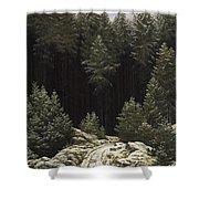 Early Snow Shower Curtain by Caspar David Friedrich