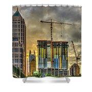Early Start Skyscraper Construction Atlanta Georgia Art Shower Curtain