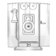 Early Telephone Line Drawing Shower Curtain