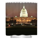 Early Washington Mornings - Us Capitol In The Spotlight Shower Curtain