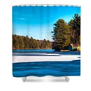 Early Winter On Old Forge Pond Shower Curtain
