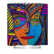 Earth And Aqua Mask - Abstract Face Shower Curtain