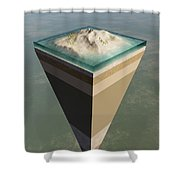 Earth Core Structure Cut-away Shower Curtain