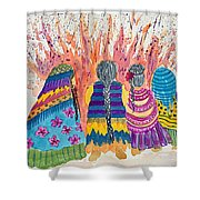 Earth Mothers - Feeding  The Fire Shower Curtain