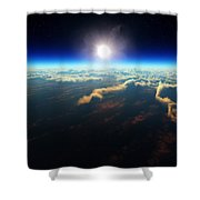Earth Sunrise From Outer Space Shower Curtain