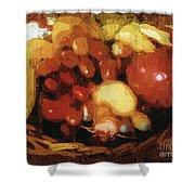 Earthtone Fruit Fresco Shower Curtain