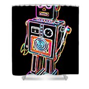 Easel Back Robot Shower Curtain
