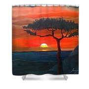 East African Sunset Shower Curtain
