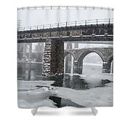 East Falls - The Frozen Schuylkill River Shower Curtain