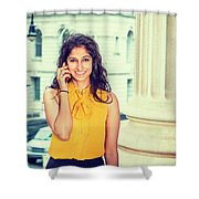 East Indian Woman Calling Outside Shower Curtain