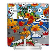 East Meets West Shower Curtain by Rojax Art