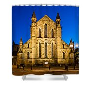 East Side Of Hexham Abbey At Night Shower Curtain
