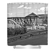 East St. Claire Covered Bridge Black And White Shower Curtain