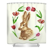 Easter Background With Rabbit Shower Curtain