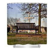 Easter Bench Shower Curtain