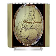 Easter Bunny  Greeting 5 Shower Curtain