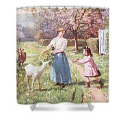 Easter Eggs In The Country Shower Curtain by Victor Gabriel Gilbert