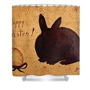 Easter Golden Egg And Chocolate Bunny Shower Curtain