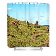 Easter Island Moai At Rano Raraku Shower Curtain