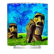 Easter Island - Van Gogh Style - Pa Shower Curtain