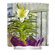 Easter Lily And Doll Shower Curtain