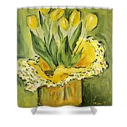 Easter Tulips Shower Curtain by Maria Langgle
