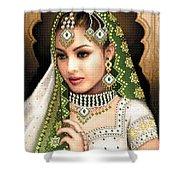 Eastern Beauty In Green Shower Curtain