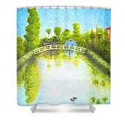 Eastern Canal Impression Shower Curtain
