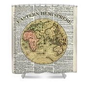 Eastern Hemisphere Earth Map Over Dictionary Page Shower Curtain by Anna W