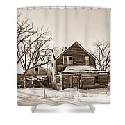 Eastern Montana Farmhouse Sepia Shower Curtain