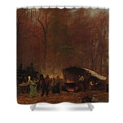 Eastman Johnson - A Different Sugaring Off - Circa 1865 Shower Curtain