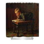 Eastman Johnson - Reading Boy Shower Curtain