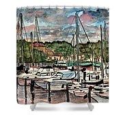 Eau Gallie Seascape Painting Shower Curtain