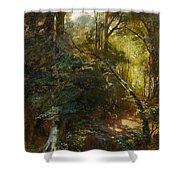 Ebert, Carl 1821 Stuttgart - 1885   Inside A Forest. Shower Curtain