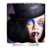Eccentric Mad Fashion Hatter In Colourful Makeup Shower Curtain