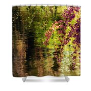 Echoes Of Monet - Cherry Blossoms Over A Pond - Brooklyn Botanic Garden Shower Curtain