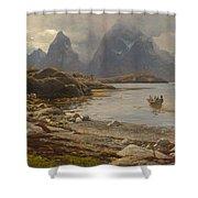 Eckenbrecher, Karl Paul Themistokles Von Athens 1842 - 1921 Goslar Norwegian Fjord Shower Curtain