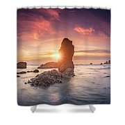 Ecola State Park Beach Sunset Pano Shower Curtain