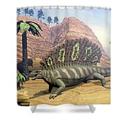 Edaphosaurus Dinosaur - 3d Render Shower Curtain