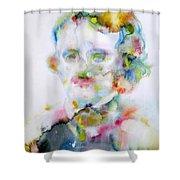 Edgar Allan Poe - Watercolor Portrait.4 Shower Curtain