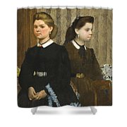 Edgar Degas - The Bellelli Sisters Giovanna And Giuliana Bellelli Shower Curtain