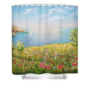 Edge Of The Cliffs By The Sea Shower Curtain