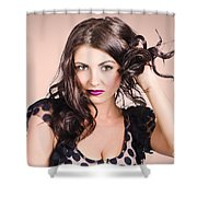 Edgy Hair Fashion Model With Brunette Hairstyle Shower Curtain