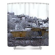 Edinburgh Castle And National Galleries Of Scotland In Winter Shower Curtain