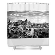 Edinburgh From Calton Hill.    Black And White Shower Curtain