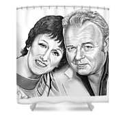 Edith And Archie Bunker Shower Curtain by Murphy Elliott