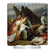 Edith Finding The Body Of Harold Horace Vernet Shower Curtain