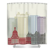 Edmonton Skyline Poster Shower Curtain