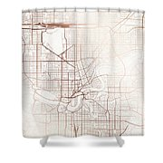 Edmonton Street Map Colorful Copper Modern Minimalist Shower Curtain
